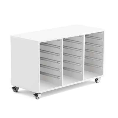 Wooden tray storage unit IDA, 3 columns, 1020x450x635 mm, white