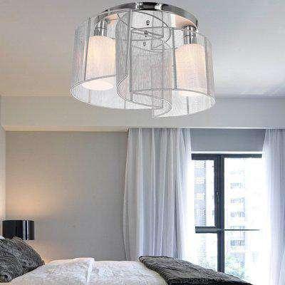 HOMCOM Φ40x25H cm Chrome Fabric Chandelier Modern Design Mini Style Flush Mount Ceiling Light with Flush Metal Finish - White