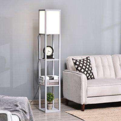 HOMCOM 4-Tier Floor Lamp, Floor Light with Storage Shelf, Reading Standing Lamp for Living Room, Bedroom, Kitchen, Dining Room, Office, Dorm, Grey