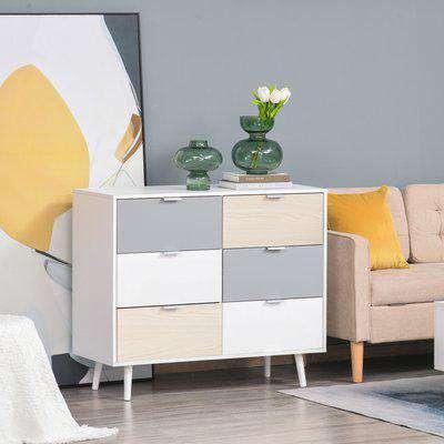 HOMCOM 6-Drawer Colourful Chest Of Drawers Storage Cabinet Sideboard Dresser w/ Wood Legs Metal Handle Bedroom Hallway Living Room Furniture