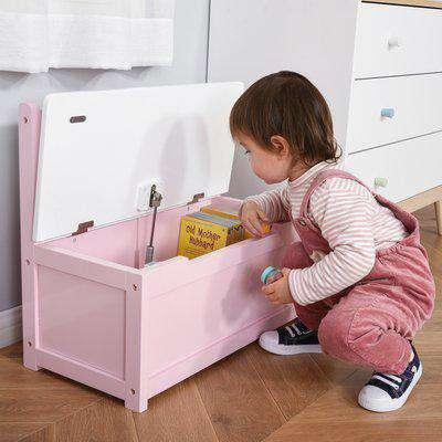 HOMCOM 2-IN-1 Wooden Toy Box Kids Seat Bench Storage Chest Cabinet Organizer with Safety Pneumatic Rod 60 x 30 x 50cm Pink