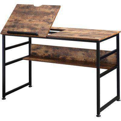 HOMCOM Adjustable Drafting Table Desk Drawing Table, Craft Desk Workstation for Painting, Multifunctional Writing Desk w/ 15-Level Tiltable Tabletop