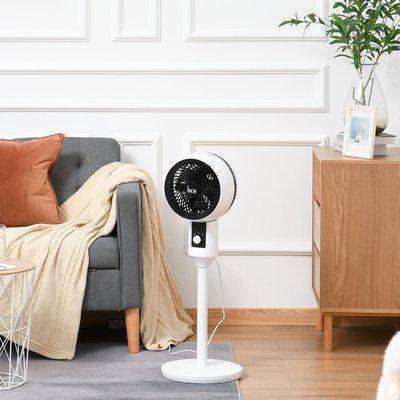 HOMCOM Air Circulator Fan 3 Speed, 70° Oscillation 90° Vertical Tilt, Round Base, Carry Handle, for Living Room, Bedroom, Office, Black and White