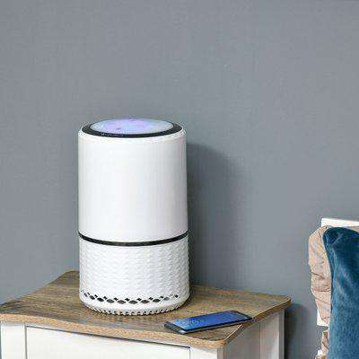 HOMCOM Air Purifiers for Home with HEPA Filters, 3-Stage Filtration System Air Cleaner with 3 Speeds, Night Light, Filter Change Reminder
