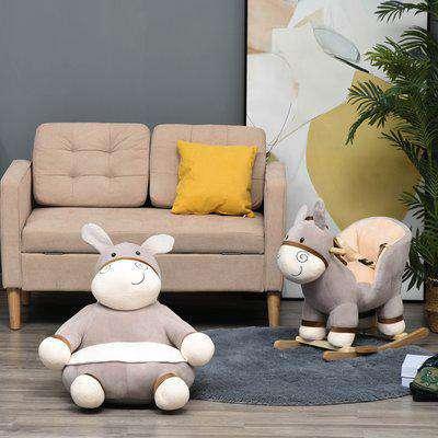 HOMCOM Animal Kids Sofa Chair Cartoon Cute Donkey Multi-functional with Armrest Flannel PP Cotton 60 x 55 x 60cm Grey