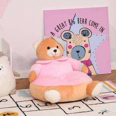 HOMCOM Animal Kids Sofa Chair Cute Pajamas Bear Cartoon Multi-functional with Armrest Flannel PP Cotton 60 x 45 x 45cm Pink