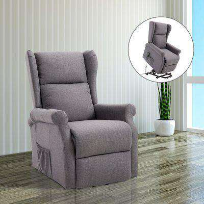 HOMCOM Lift Armchair Electric Power Stand Assist Recliner Chair w/ Remote Control Linen Fabric Grey