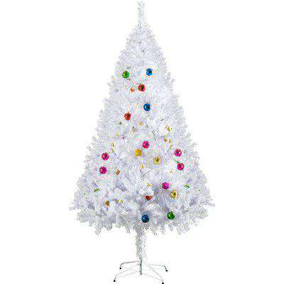 HOMCOM 4.9ft Artificial Christmas Tree Holiday Home Decoration with Xmas Ornaments and Metal Stand, White
