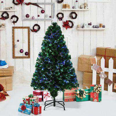 HOMCOM Artificial Christmas Tree, Metal Base, Pre-Lit, 1.2m