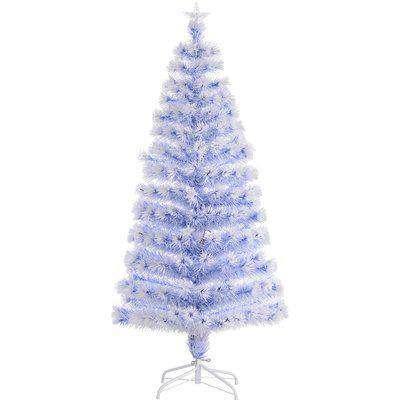 HOMCOM Artificial Fibre Optic Christmas Tree Seasonal Decoration w/ 20 LED Lights Pre-Lit Easy Store White Blue 5FT