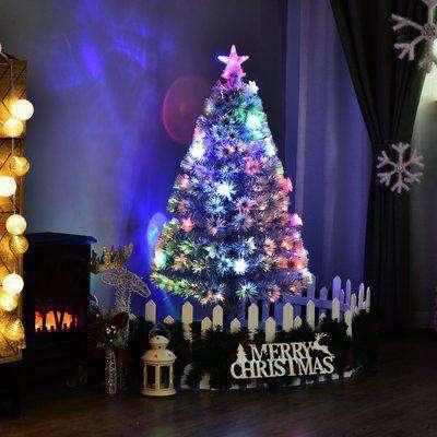 HOMCOM Artificial Fibre Optic Christmas Tree w/ 26 LED Lights Pre-Lit White Blue 4FT