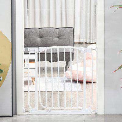 HOMCOM Baby Safety Gate Stair Barrier Pressure Fit Home Doorway Corridors Room Divider Guard with Adjusting Screws White 72.5 x 71cm