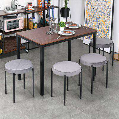 HOMCOM Backless Stackable Dining Stools Velvet-Touch Fabric Upholstered Round Chair with Steel Legs, Set of 4, Grey