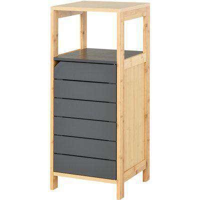 HOMCOM Bamboo 4-Tier Narrow Bathroom Cabinet Grey