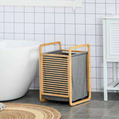 HOMCOM Bamboo Laundry Hamper Basket with Removable Fabric Liner for Bathroom Utility Room Bedroom