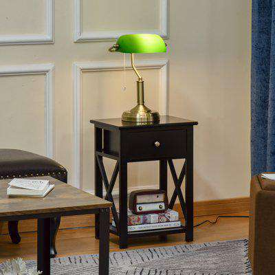 HOMCOM Banker's Table Lamp Desk Lamp with Antique Bronze Base, Green Glass Shade and Pull Rope Switch for Home Office, Living Room,Dining Room