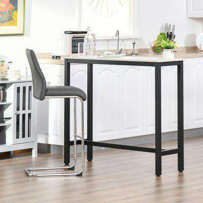 HOMCOM Bar Table Breakfast Dining Table Coffee Table with Adjustable Footpads, for Home Bar, Kitchen, Dining Room, 120x40x100cm, White & Black