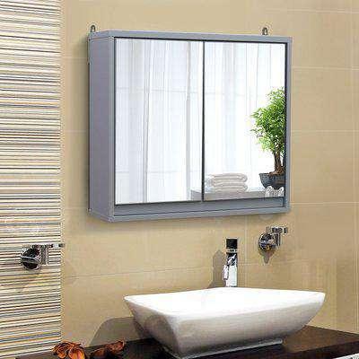 HOMCOM Bathroom Mirror Cabinet Wall Mounted Storage Shelf Bathroom Cupboard Double Door - 48L x 14.5W x 45H cm