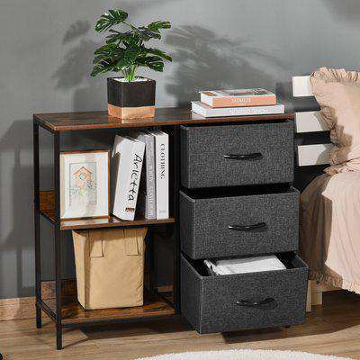 HOMCOM Chest of Drawers Storage Dresser Cabinet Organizer with 3 Fabric Drawers and 2 Display Shelves for Living Room, Bedroom, Hallway, Black