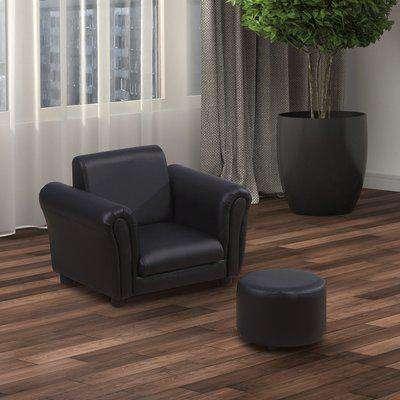 HOMCOM Children Armchair W/Footstool-Black