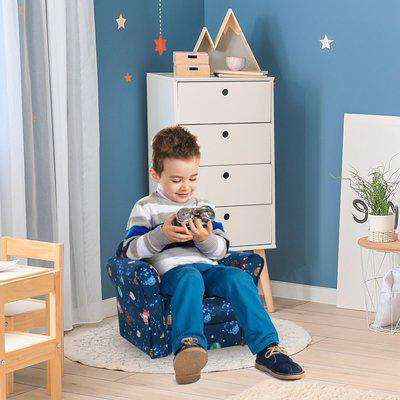 HOMCOM Children Kids Mini Sofa Armchair Made of Polyester Very Comfortable Blue Universe Planet Space and Safe Non-Slip Feet