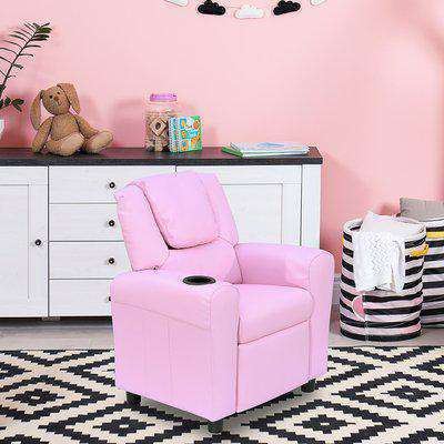 HOMCOM Children Recliner Armchair W/ Cup Holder-Pink