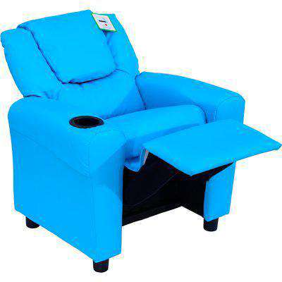 HOMCOM Children Recliner Armchair PU Leather Lounger Games Chair Sofa Seat W/Cup Holder-Blue