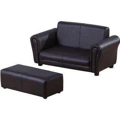 HOMCOM Children 2 Seater Sofa Armchair 2 Seater W / Footrest Black