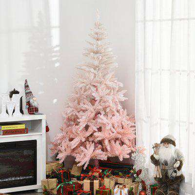 HOMCOM 6ft Christmas Decorations Realistic Design Faux Christmas Tree w/ Metal Stand and Quick Setup - Pink