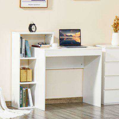 HOMCOM Compact Computer Desk with Storage Writing Table Modern for Flat Office Bedroom w/ Storage Shelf Rack Integrated Bookcase, White