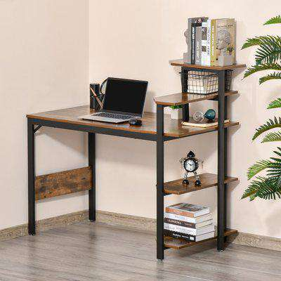 HOMCOM Compact Computer Desk Writing Table Modern Home Office w/ Shelf Rack Storage, Brown and Black