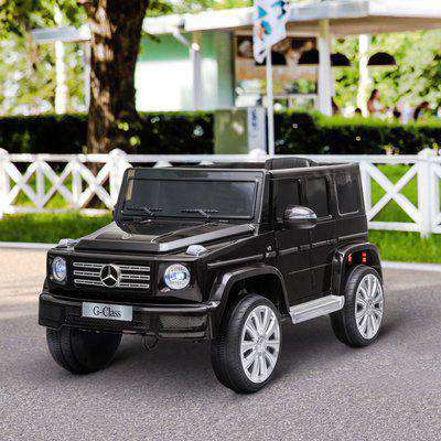 HOMCOM Compatible 12V Battery-powered Kids Electric Ride On Car Mercedes Benz G500 Toy with Parental Remote Control Music Lights MP3 Suspension Wheels