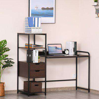 HOMCOM Computer Desk Writing Table Workstation for Home Office with Shelves, Drawers, Walnut Brown