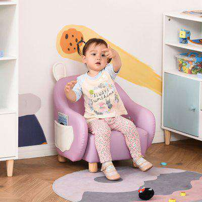 HOMCOM Cute Animal Kids Sofa Chair with Storage bags PU Leather Upholstered Single Sofa Couch for Kids Toddlers for Children's Room, Pink