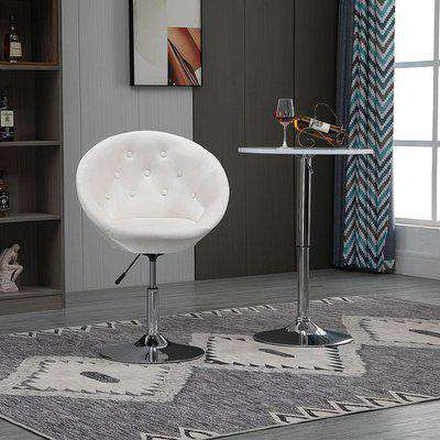 HOMCOM Dining Height Bar Stool Velvet-Touch Tufted Fabric Adjustable Height Armless Counter Chairs with Swivel Seat, Cream White