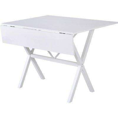 HOMCOM Dining Table Drop Leaf Metal Frame MDF Top Folding Expandable 6 Person White