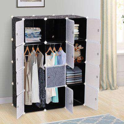 HOMCOM DIY Wardrobe Portable Interlocking Plastic Modular Closet Cabinet Cube Organiser