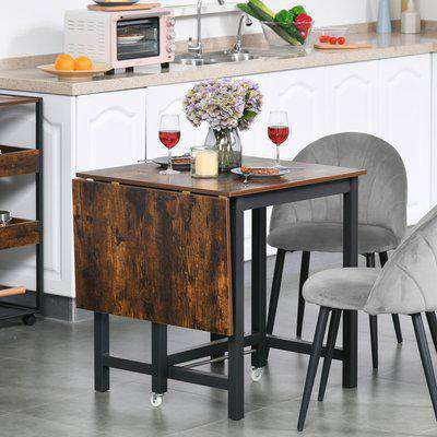 HOMCOM Drop Leaf Kitchen Folding Table Foldable Mobile Desk for Dining, Working & Writing w/Wheel, Rustic Brown Room