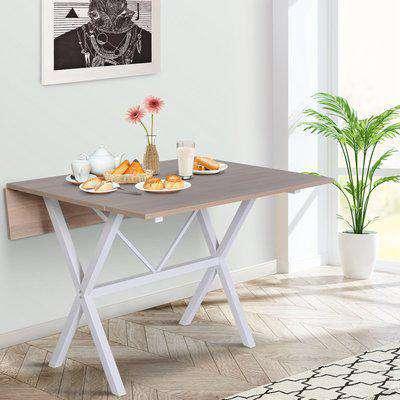 HOMCOM Drop Leaf Table Folding Dining Table Metal Frame MDF Top Folding Expandable 6 Person Oak