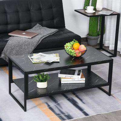 HOMCOM Faux Marble Steel Frame Coffee Table Black