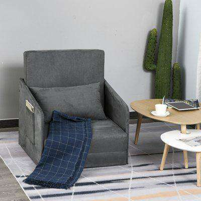 HOMCOM Faux Suede Sofa Bed Armchair Soft Floor Sleeper Lounger Futon Couch W/ Pillow and Pocket-Grey