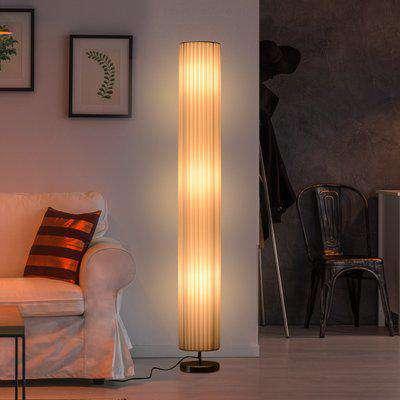 HOMCOM Free Standing Floor Lamp, 20Lx20Wx160H cm-White/Silver