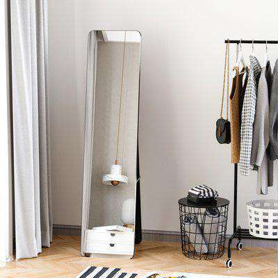 HOMCOM Full Length Mirror, Free Standing or Wall Hanging, Tall Full Body Mirror for Bedroom, Hallway, Black