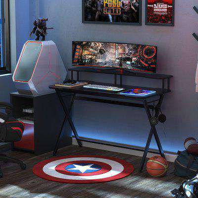 HOMCOM Gaming Computer Desk Writing Racing Table Workstation with Headphone Hook Curved Front Adjustable Feet for Home Office Use
