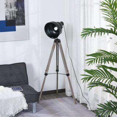 HOMCOM Industrial Style Tripod Floor Lamp for Living Room Bedroom, Vintage Spotlight Reading Lamp with Wood Metal Legs E27 Base