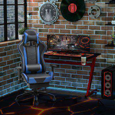 HOMCOM High-Back Gaming Chair Swivel Home Office Computer Racing Gamer Desk Chair Faux Leather with Footrest, Wheels, Black Grey