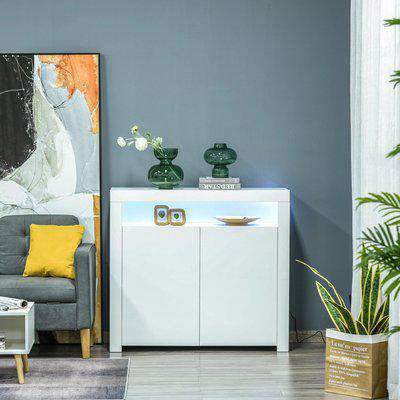 HOMCOM High Gloss LED Cabinet Cupboard Sideboard Buffet Console with RGB Lighting for Entryway, Dining Area, Living Room, White