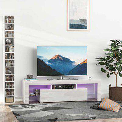 """HOMCOM High Gloss TV Stand Cabinet with LED RGB Lights and Remote Control for TVs up to 65"""", Media TV Console Table with Storage Compartment, Black"""