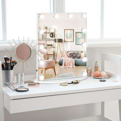 HOMCOM Hollywood Mirror with Lights for Makeup Dressing Table, Lighted Vanity Mirror with 12 Dimmable LED Bulbs and USB Plug in Power Supply, White