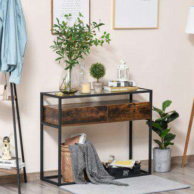HOMCOM Industrial Style Entryway Console Table Desk with Drawers, Toughened Glass Shelf, 3D Wood Grain